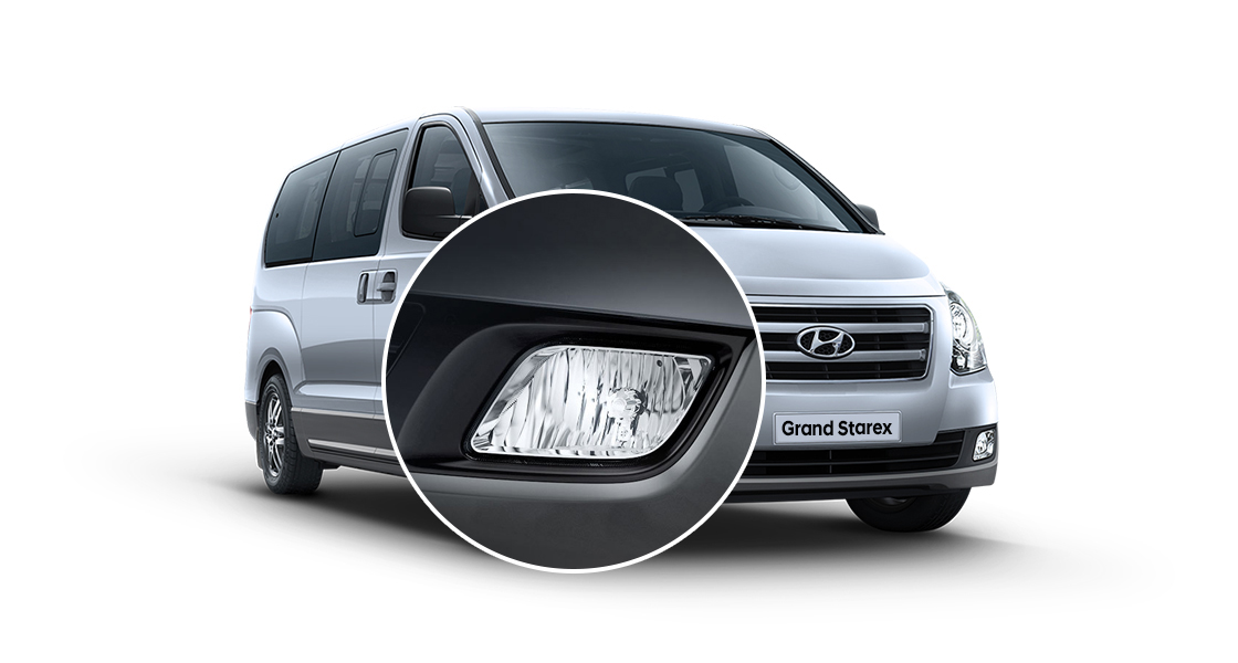 Closer view of silver Grand Starex's headlamp